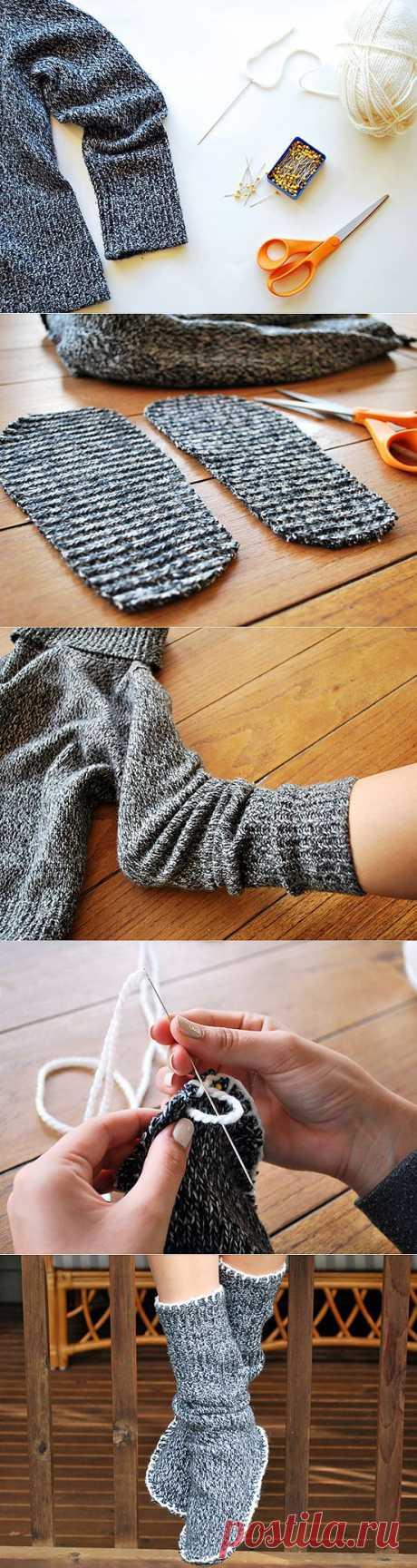 Делаем носки из старого свитера