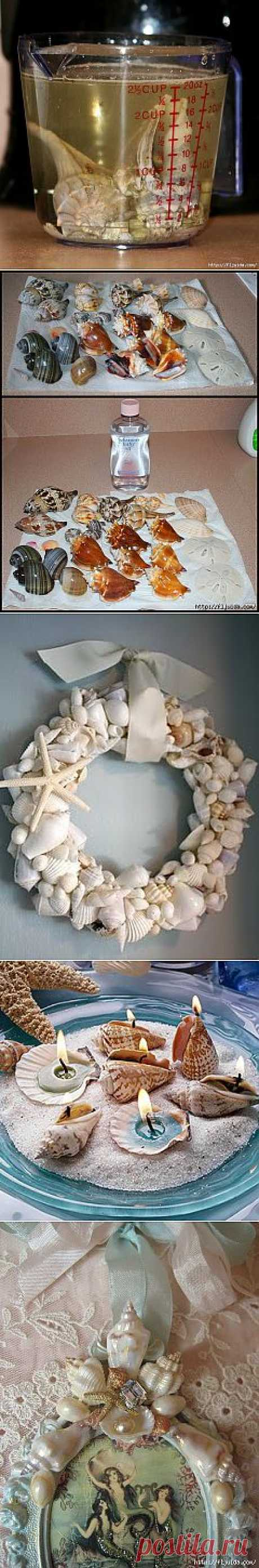Применяем ракушки в оформлении декора..