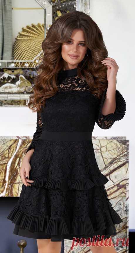 Красивое черное коктейльное платье № 3836 - Платье норма 42-48 - Модные вечерние платья: купить недорого у производителя в розницу, доставка по Украине | Lemanta.com