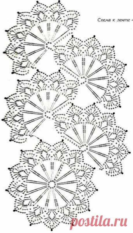 Узор для вязания ленточного кружева
