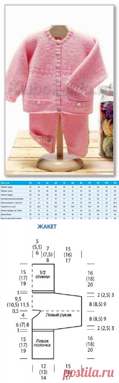 Вязание спицами детям. Комплект для девочки с простыми узорами: жакетик и штанишки. Размеры: 62 (63) 74