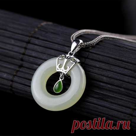 Jasper Necklace-Hetian Jade Ping Necklace-925 Silver | Etsy
