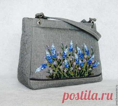 """Купить Сумка женская """"Femme Blue"""" - серый, цветочный, женская сумочка, женская сумка"""