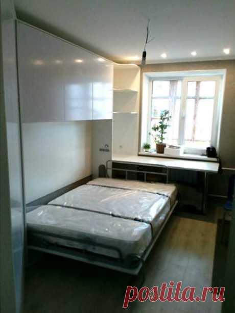 """Горизонтальная кровать-трансформер """"Секрет"""" с антрессолью. Дополнена угловым шкафом. Глянцевые фасады. Доступны размеры 1.4, 1.6 х 2.0 м. Цена кровати от 31 950 руб."""