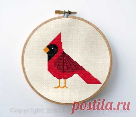 Cardinal Cross Stitch Pattern Instant Download Mid Century   Etsy