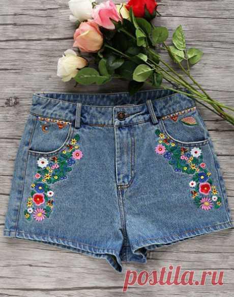 Разнообразный декор джинсов: вышивка, роспись, кружево…