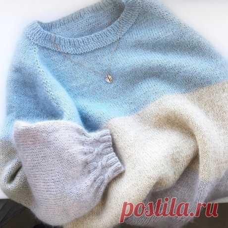 Пуловер Автор jm_knit_kids  От автора : Напишу в общих чертах как вязала этот пуловер На размер 44 Пряжа: основная нить, которая не менялась Gazzal Baby Wool цвет 817, 6-7 мотков, добавочная нить любой кид мохер на шелке (у меня был BBB Soft Dream цвет 489, 1,5 мотка, Lana Gatto Silk Mohair цвет 6023, 2 мотка и Yarn Art с люрексом в светло-коричневом цвете, 2 мотка). Все, что нашлось в доме Спицы N 3,5 (добавочные 3,25, 2,5) Реглан сверху. Маленькая хитрость или как тут го...