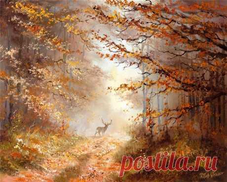 Из тумана песню мне пропела осень... Олень на прогулке .