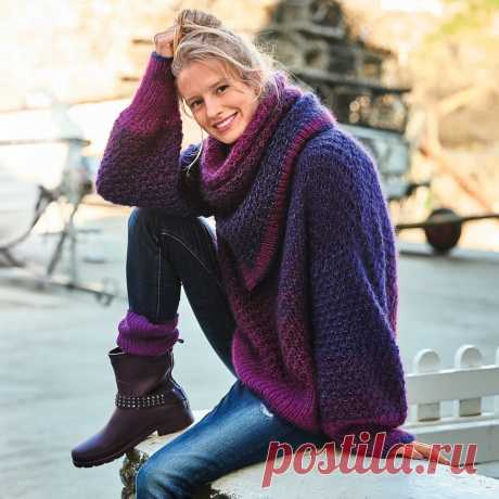 Джемпер с широкими рукавами и съемным воротником-петлей - схема вязания спицами. Вяжем Джемперы на Verena.ru