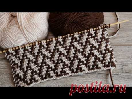 🧩 Узор «Елочка» или  «Плетенка» спицами – мозаичная техника вязания 🌲 Mosaic Knitting 🧩 - YouTube