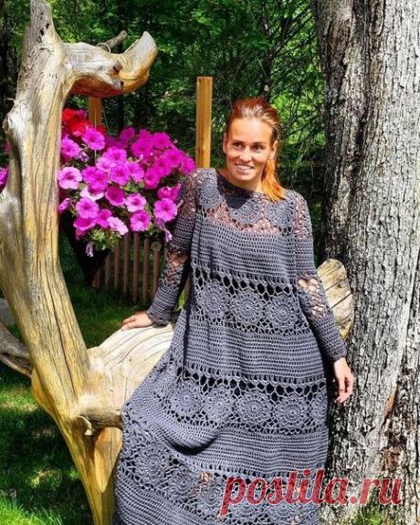 Длинные летние платья, связанные крючком   ВЯЗАНИЕ СПИЦАМИ И КРЮЧКОМ   Яндекс Дзен