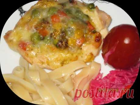 """Chicken """"лодочки"""" with vegetables"""