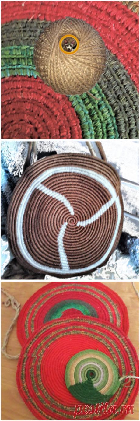 Вязание из джута. Попробовала новую технику вязания из джута. Получаются интересные вещи   Очень занятая  пенсионерка   Яндекс Дзен
