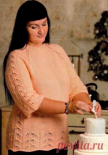 "Пуловер реглан с узором ""листики"""