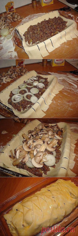 Быстрый мясной пирог с грибами »