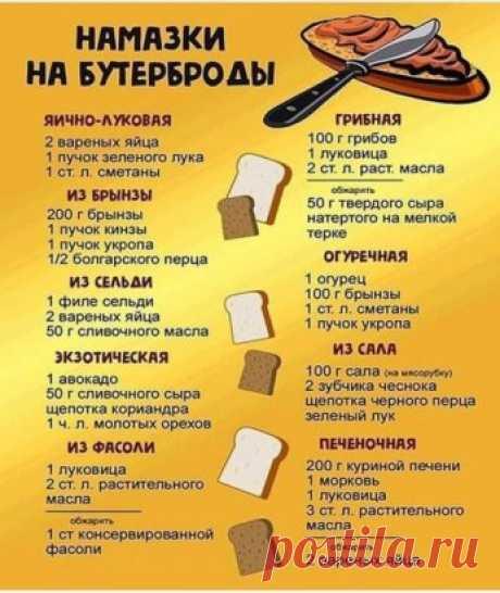 Бесподобная и простая шпаргалочка для вкуснющих бутербрродов