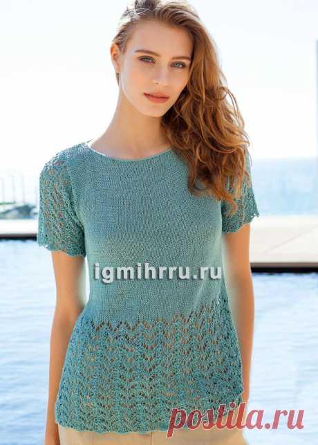 Бирюзовый легкий пуловер с ажурным узором. Вязание спицами со схемами и описанием