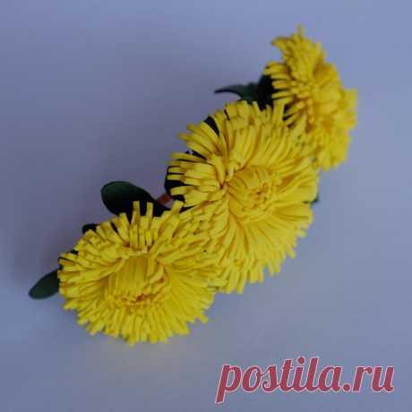 """Заколка """"Одуванчик"""" ручной работы #бижутерия #рукоделие #ручнаяработа #украшение Украшение для волос"""