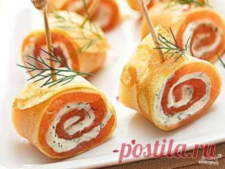 Блины с лососем - пошаговый рецепт с фото на Повар.ру
