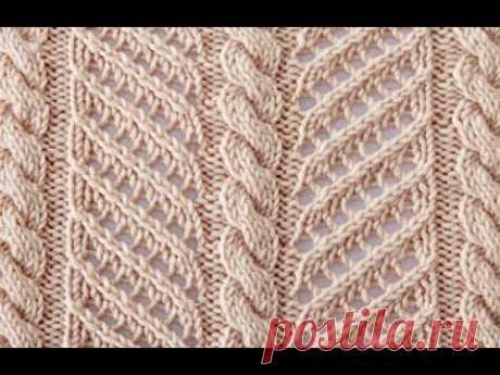 Ажурный узор спицами - Ажурные полосы.