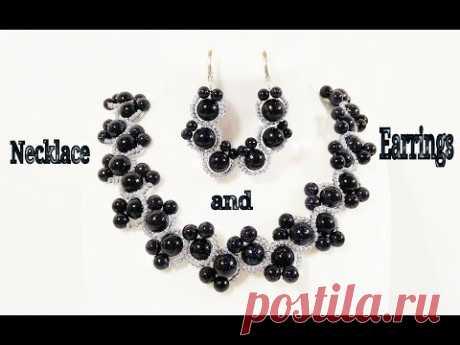 Комплект Аксессуаров из Бисера и Бусин Своими Руками/ Колье, Браслет и Серьги/ Necklace of beads!