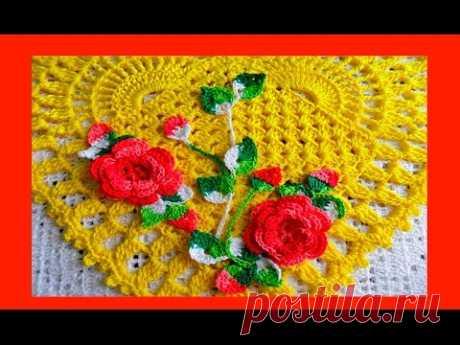 """Салфетка  """"Сердце """"крючком.How to Crochet a Doily (узор#91)"""