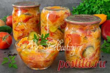 Салат Кубанский на зиму Без преувеличения, этот салат с капустой без стерилизации можно смело назвать одним из самых вкусных, которые многие хозяюшки делают на зиму.