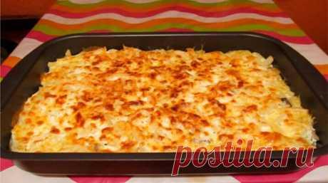 Запеканка из тертого картофеля с сыром и чесноком. И вся семья будет сыта!