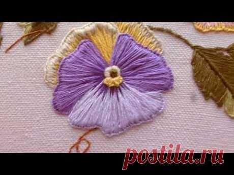 Бразильская вышивка. Фиалки. Brazilian embroidery