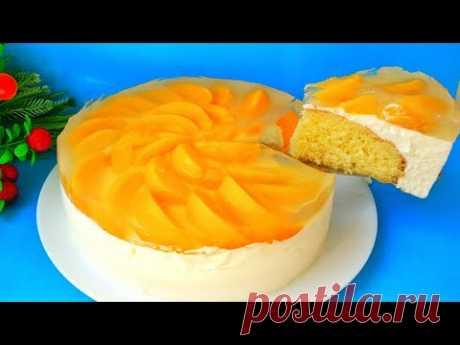 Торт Сенсация. Самый вкусный и простой в приготовлении. Творожный торт с персиками и желе. Рецепт
