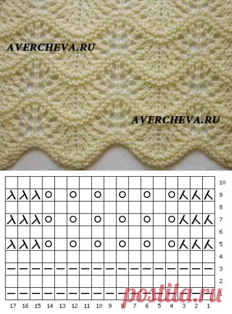 Узор спицами 1017 волнистый | каталог вязаных спицами узоров