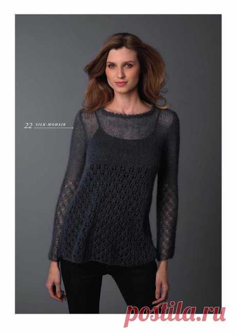 Тонкий вязаный пуловер из мохера схема. Пуловер спицами от Kim Hargreaves |