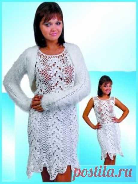 Белоснежный комплект: платье и накидка. Кружево.