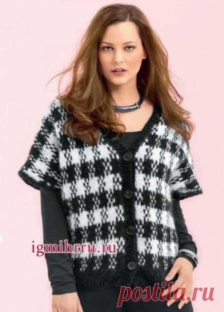 Мода PLUS. Теплый мягкий жилет из альпаки, с узором «пепита». Вязание спицами для полных женщин
