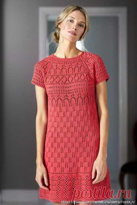 Скромное платье. Спицы + крючок. Схемы вязания