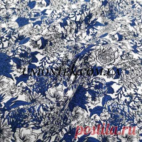 """Ткань стрейч лен принт синие цветы на белом: купить в Украине оптом и в розницу. одежные ткани от """"Магазин тканей и фурнитуры Юнионтекс- опт и розница Украина"""" - 986192671"""