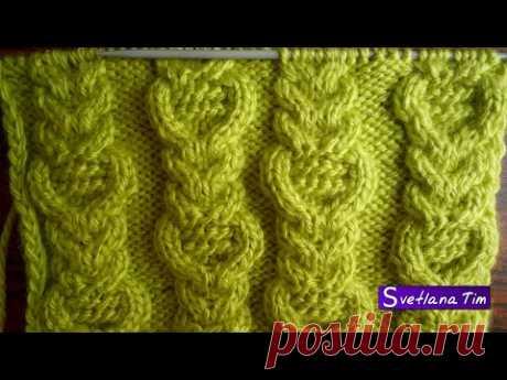 Комбинированный Узор КОСЫ и Араны для вязания свитера, кардигана. ВЯЗАНИЕ СПИЦАМИ УЗОРЫ №16