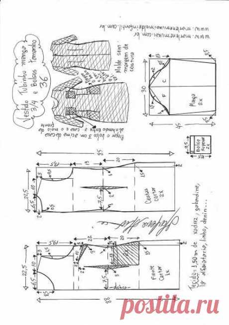 Осеннее платье с карманами в клеточку. Выкройка. Размер 36 — 48 (Шитье и крой) — Журнал Вдохновение Рукодельницы