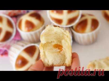 МЯГКИЕ ПАСХАЛЬНЫЕ БУЛОЧКИ с КУРАГОЙ 🍥 Hot cross buns recipe