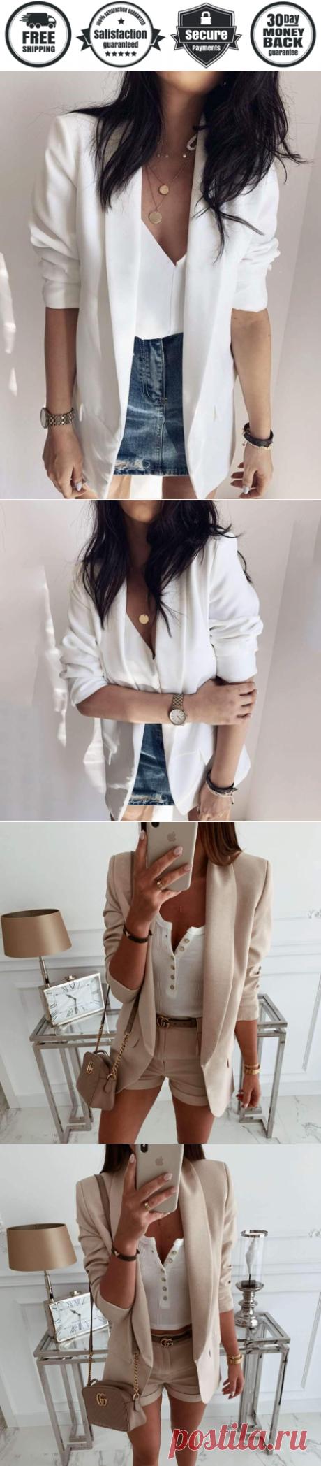 Simple Casual Pure Lapel Long sleeve Blazer - Cicicloth