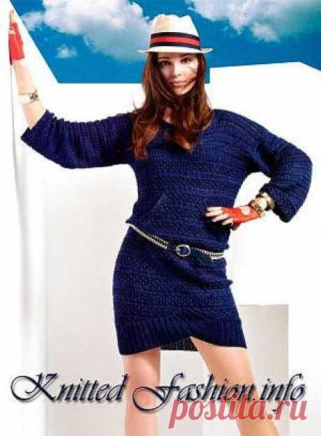 Синее платье с клапанами - KnittedFashion.info