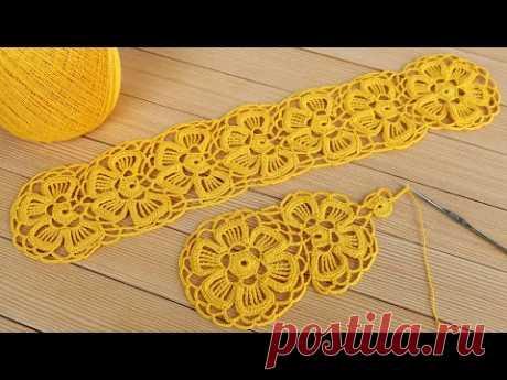 Цветочное ЛЕНТОЧНОЕ КРУЖЕВО крючком СХЕМА вязания Crochet Lace Braid Ribbon Tape Tutorial