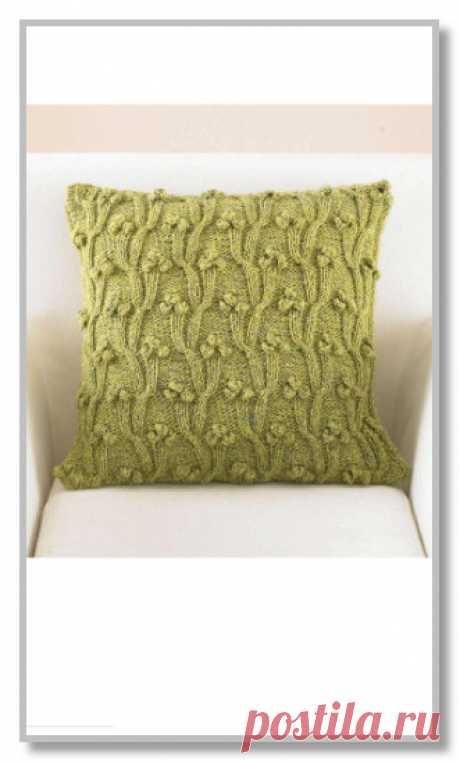 Вязание спицами. Модели для дома и интерьера. Чехол для подушки на молнии, с рельефным узором и шишечками. Размеры 41 х 41 см