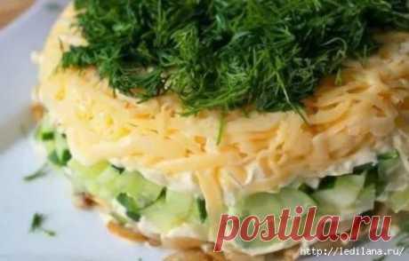 Нежный салат Швейцарский с жареными грибами и свежими огурцами