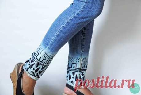 Еще один вариант декора низа джинсов маркером (Diy) Модная одежда и дизайн интерьера своими руками