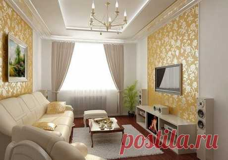 Интерьер гостиной с элементом золота