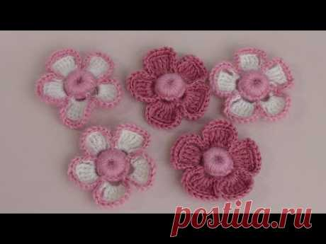 Вязание маленького цветка с объёмной серединкой-ягодкой. Урок вязания крючком.