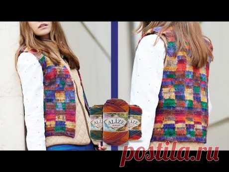 Çift Batik ile Ekose Yelek | Double Batik Plaid Vest | Жилет в шотландскую клетку из двойного батика