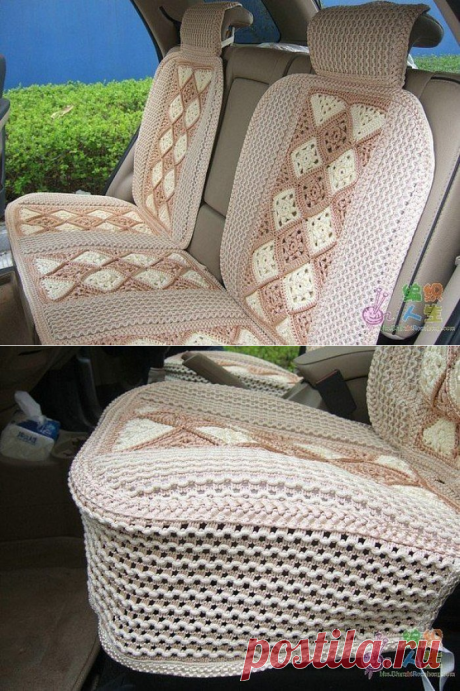 Covers for seats in the car the hands. Covers in the car knitted a scheme hook   Housekeeping for all family