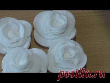 Самый простой способ сделать розу из ватных дисков